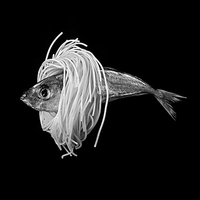 picture of a dead fish surrounded by Chinese noodles shot in studio Halet with a Mamiya medium format digital back Phase One